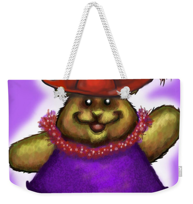Red Hat Weekender Tote Bag featuring the greeting card Bear In Red Hat by Kevin Middleton
