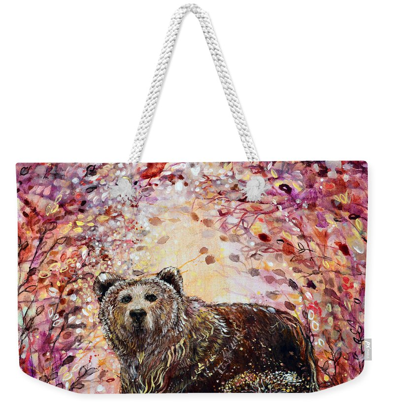Bear Weekender Tote Bag featuring the painting Bear With A Heart Of Gold by Ashleigh Dyan Bayer