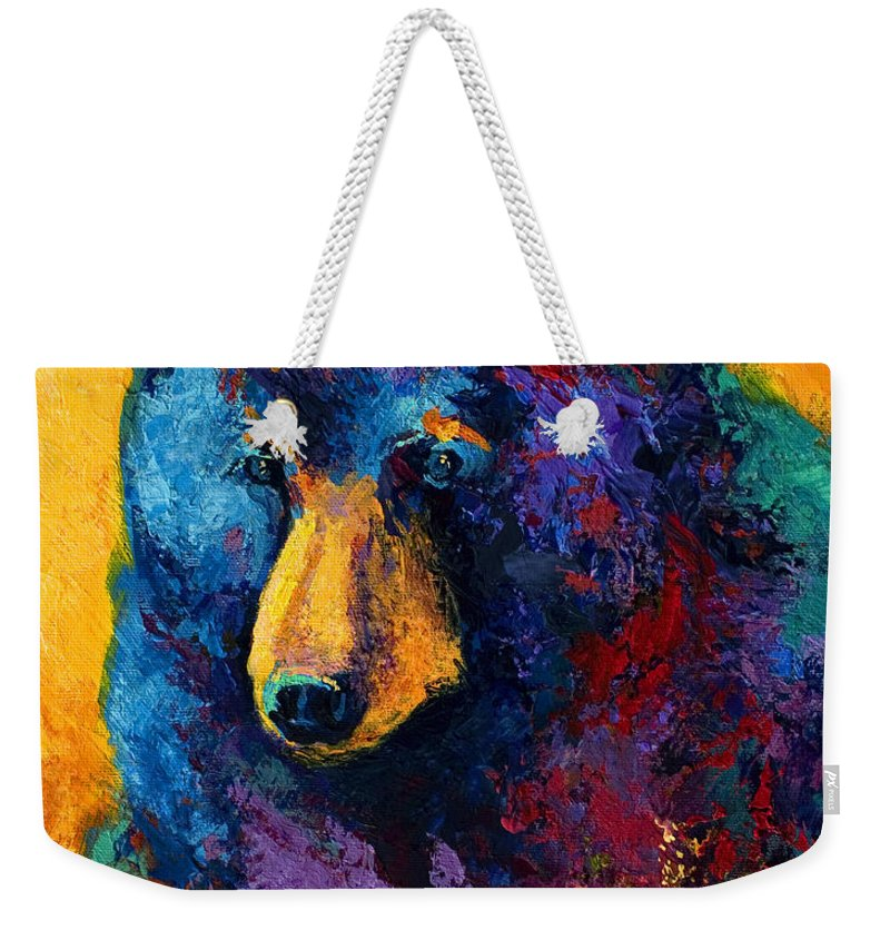 Bear Weekender Tote Bag featuring the painting Bear Pause - Black Bear by Marion Rose