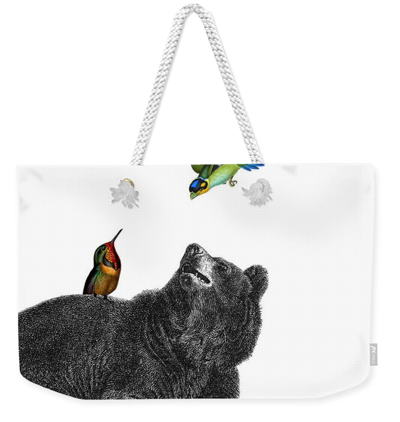 Bear Weekender Tote Bag featuring the digital art Bear With Birds Antique Illustration by Madame Memento