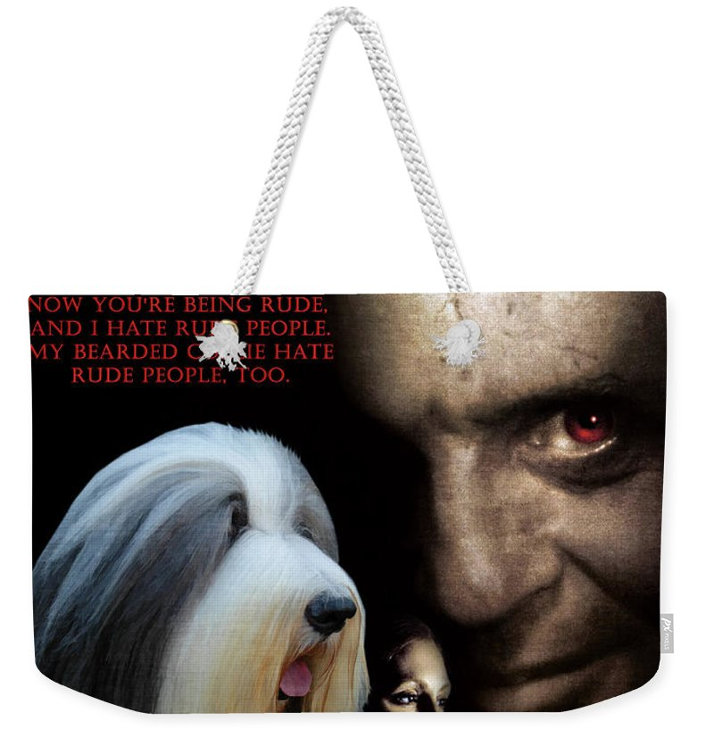 Bearded Collie Weekender Tote Bag featuring the painting Bearded Collie Art Canvas Print - Hannibal Movie Poster by Sandra Sij