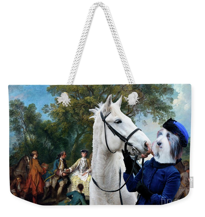 Bearded Collie Weekender Tote Bag featuring the painting Bearded Collie Art Canvas Print - Picnic After The Hunt by Sandra Sij