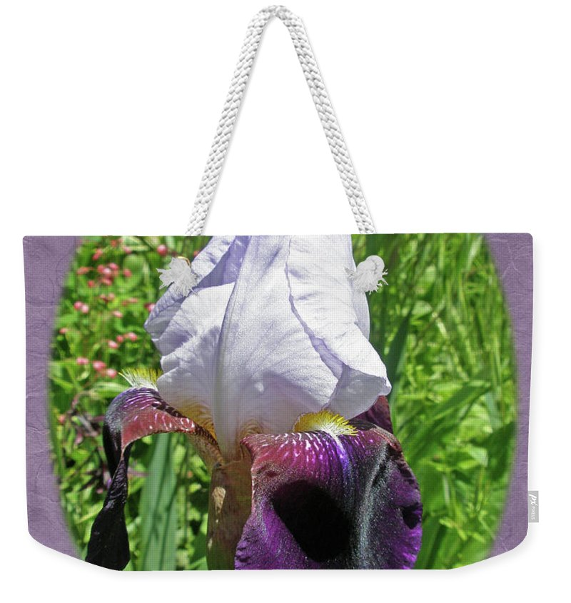 Iris Weekender Tote Bag featuring the photograph Bearded Iris Blossom by Mother Nature