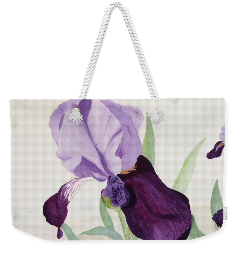Iris Weekender Tote Bag featuring the painting Bearded Iris by Bonnie Young