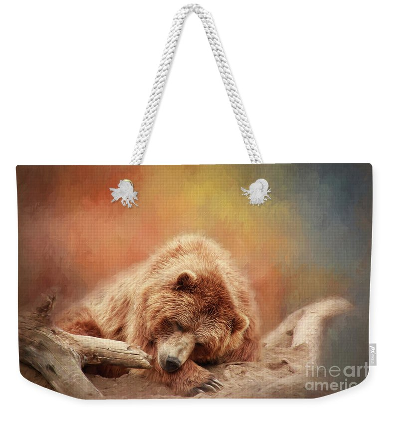 Bear Weekender Tote Bag featuring the photograph Bearly Asleep by Sharon McConnell