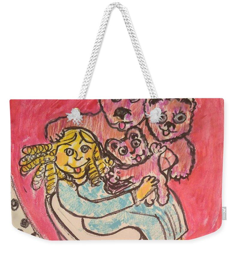 Bear Weekender Tote Bag featuring the painting Bear's Love's Hugs by Geraldine Myszenski
