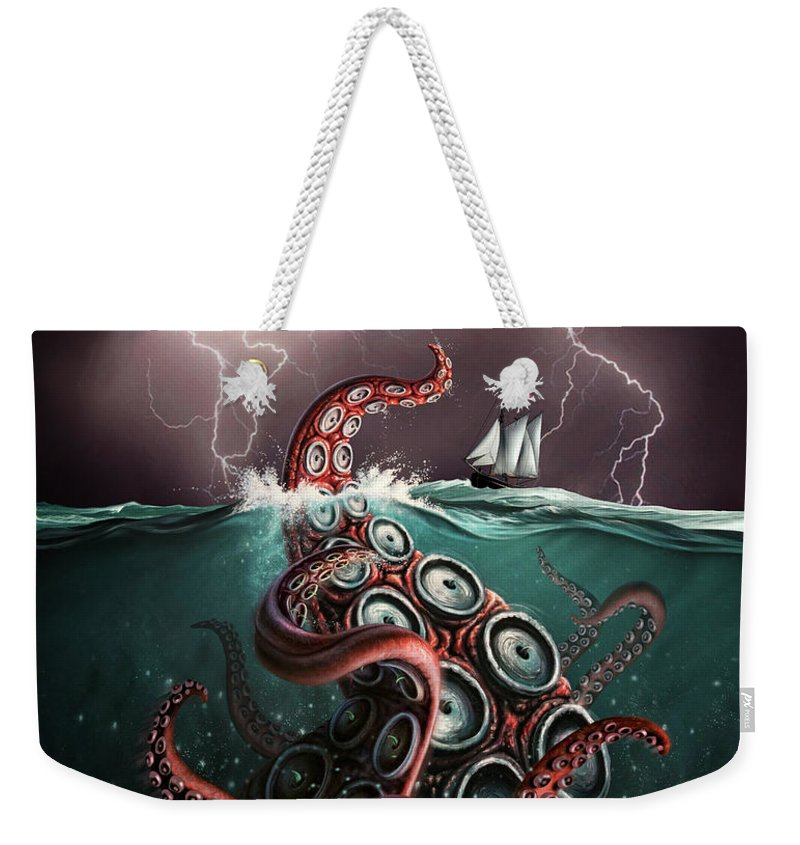 Squid Weekender Tote Bag featuring the digital art Beast 2 by Jerry LoFaro