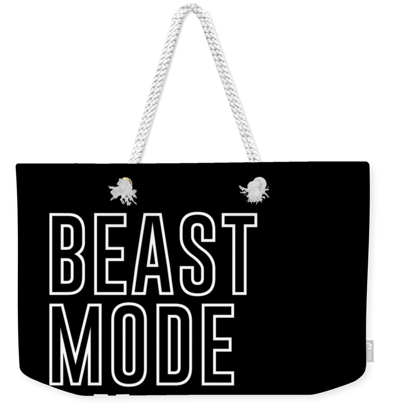 Beast Mode On Weekender Tote Bag featuring the mixed media Beast Mode On - Gym Quotes - Minimalist Print - Typography - Quote Poster by Studio Grafiikka