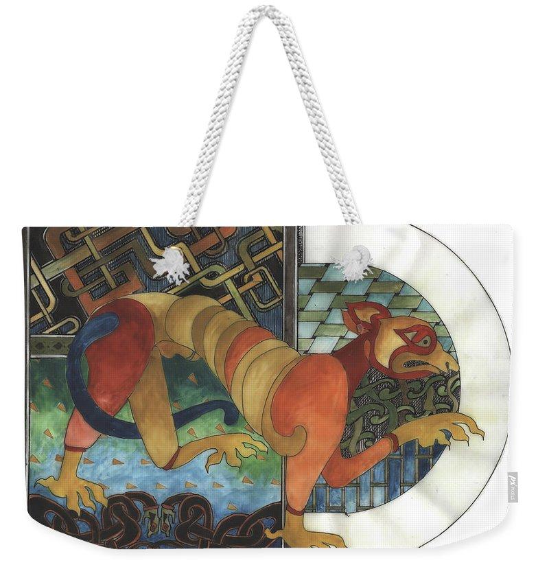 Celtic Weekender Tote Bag featuring the drawing Beastie by Barbara Sheehan