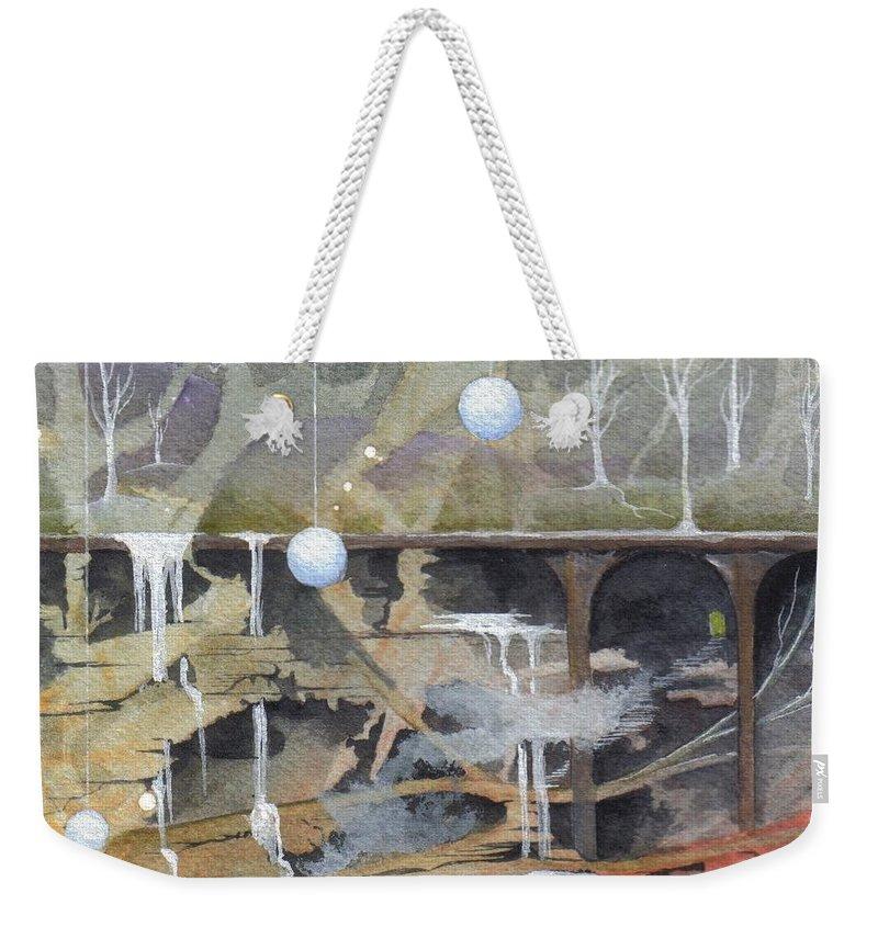 Fantasy Landscape Weekender Tote Bag featuring the painting Beata's Destiny by Jackie Mueller-Jones