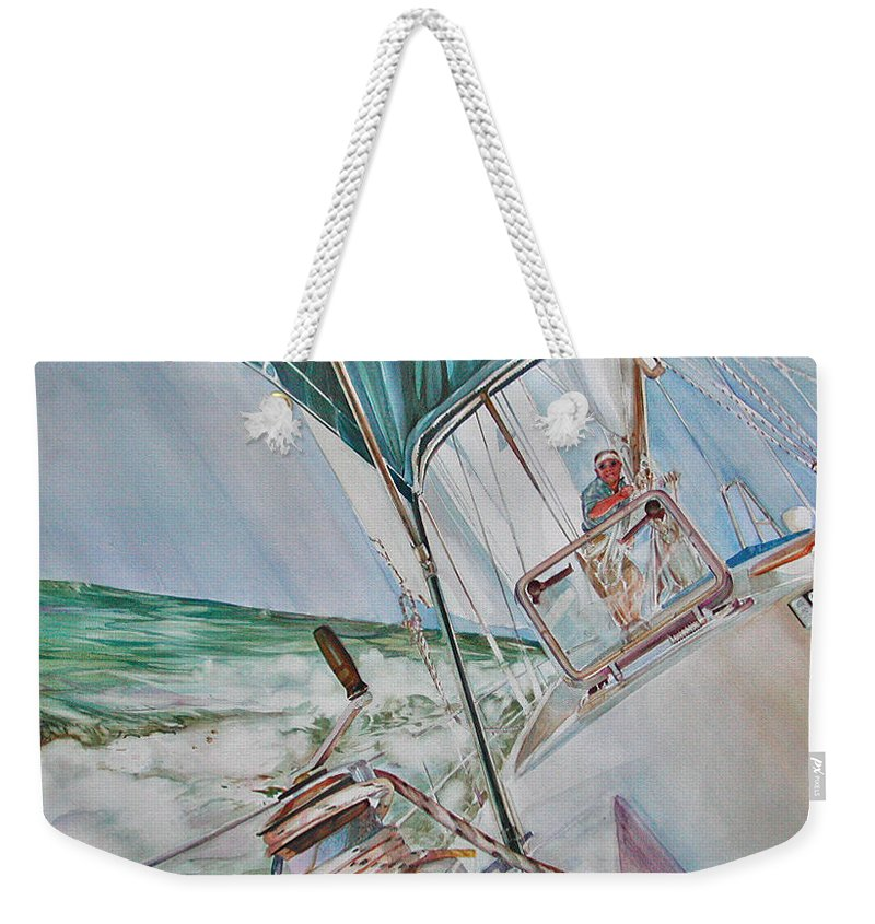 Sailing Weekender Tote Bag featuring the painting Beating Windward by P Anthony Visco