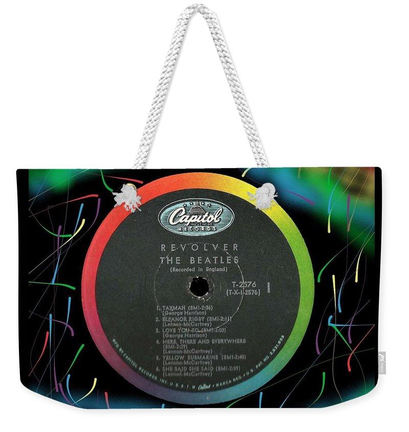 Beatles Weekender Tote Bag featuring the digital art Beatles Revolver Rainbow Lp Label by Doug Siegel