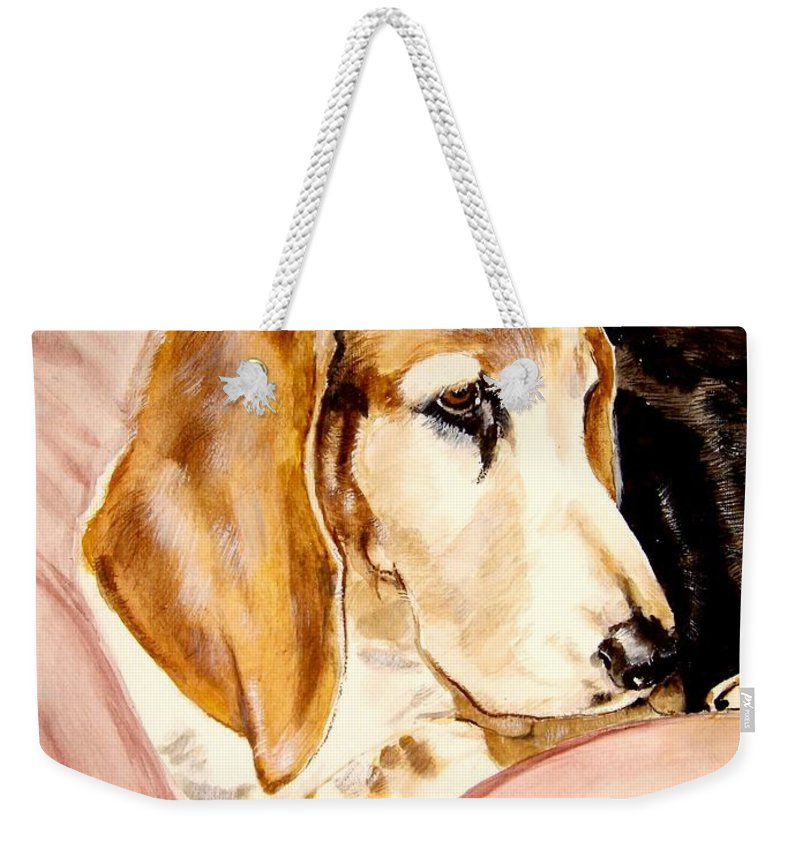 Basset Hound Painting Weekender Tote Bag featuring the painting Beau by Carol Blackhurst