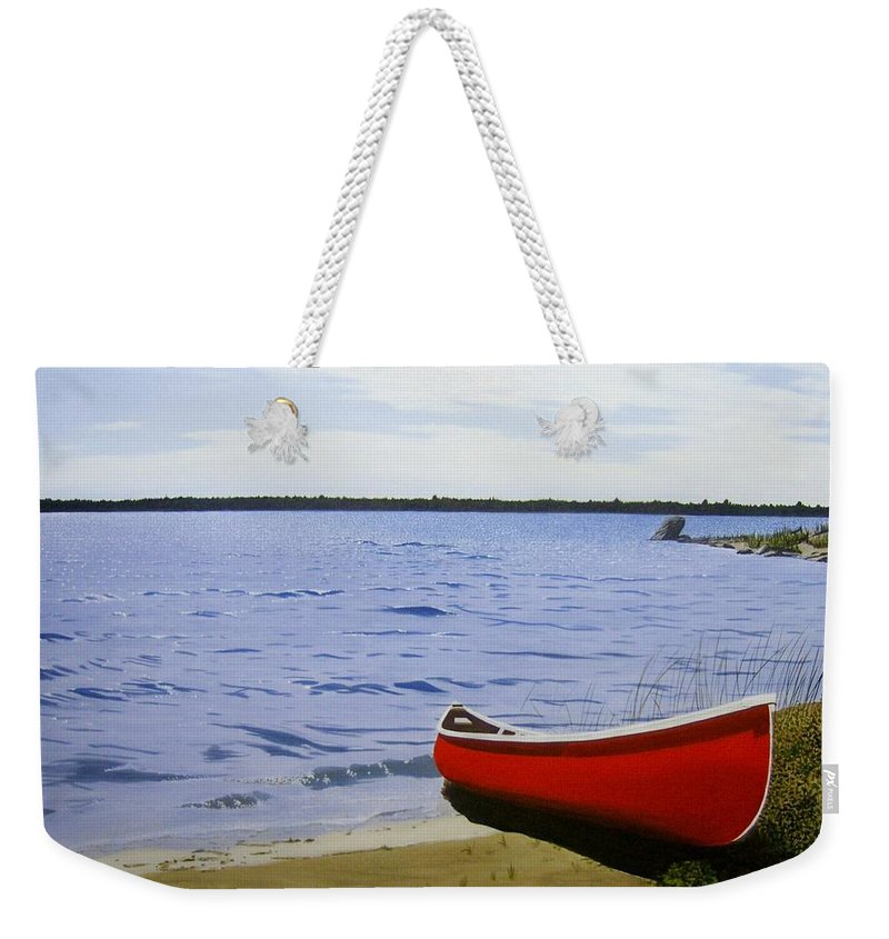 Landscpaes Weekender Tote Bag featuring the painting Beaultiful Red Canoe by Kenneth M Kirsch
