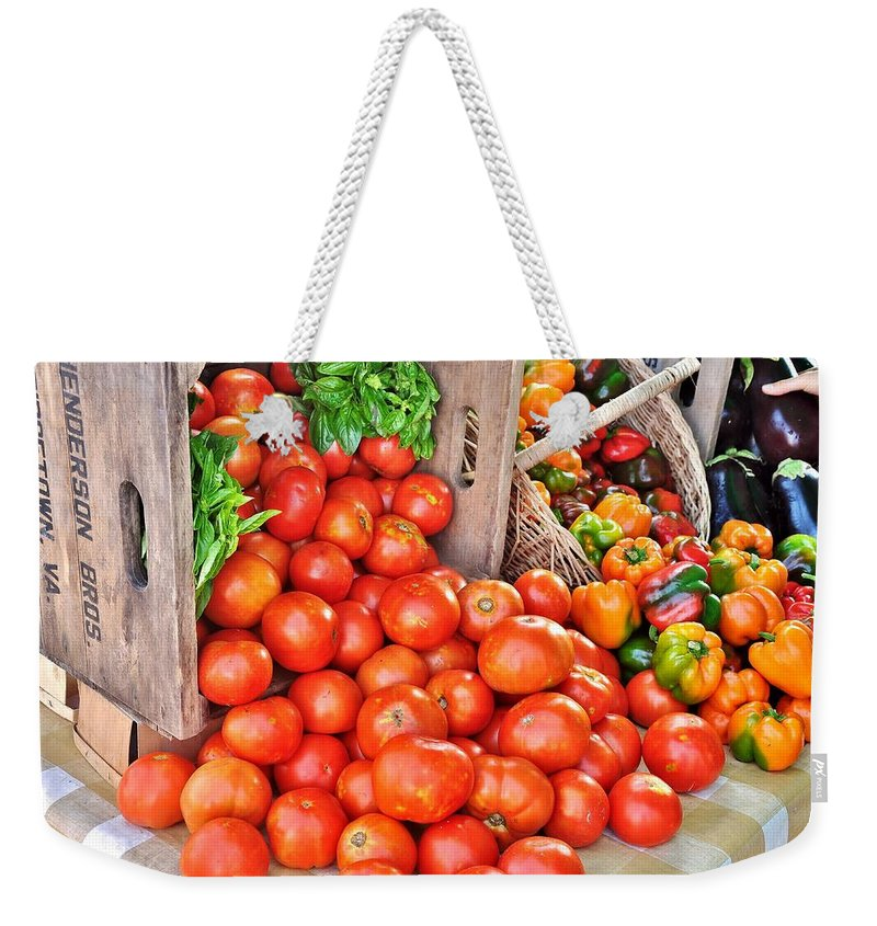 Vegetable Weekender Tote Bag featuring the photograph The Bountiful Harvest At The Farmer's Market by Kim Bemis