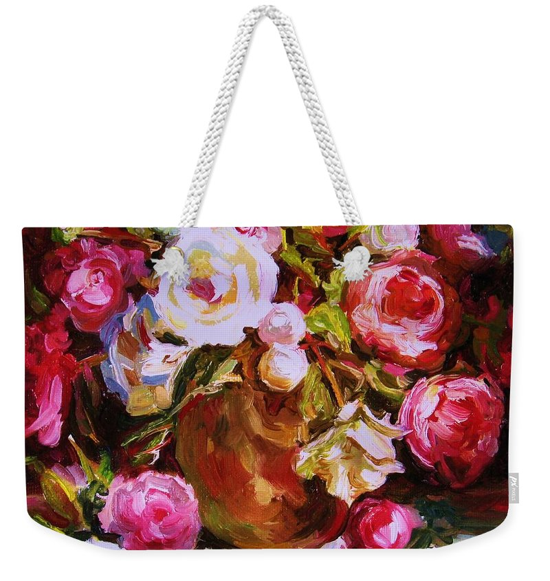 Roses Weekender Tote Bag featuring the painting Beautiful Bouquet by Carole Spandau
