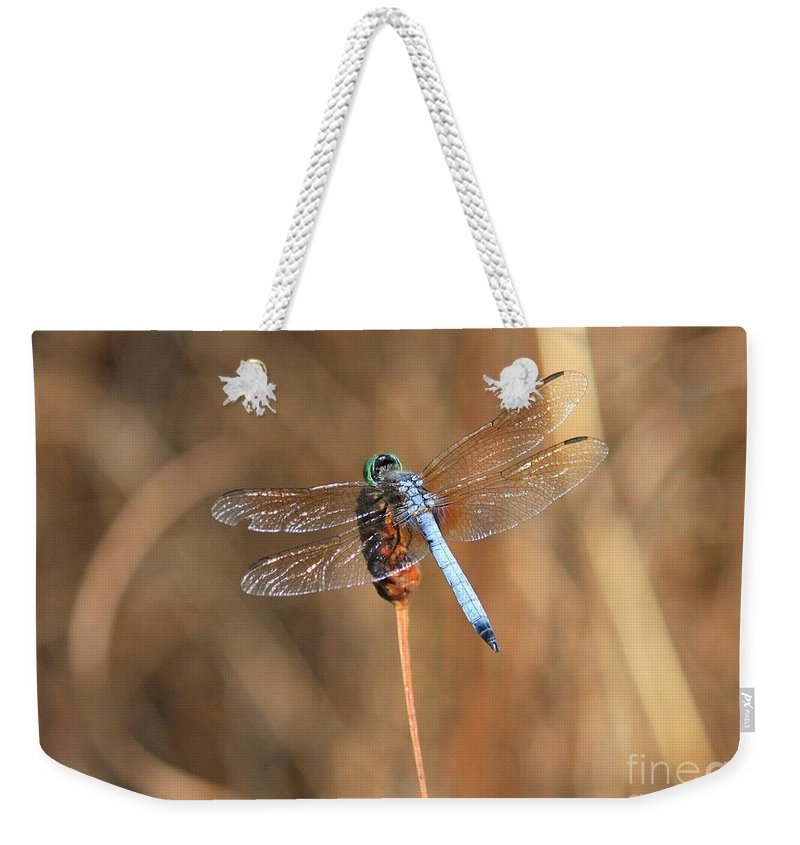 Dragonfly Weekender Tote Bag featuring the photograph Beautiful Broken Wing by Carol Groenen