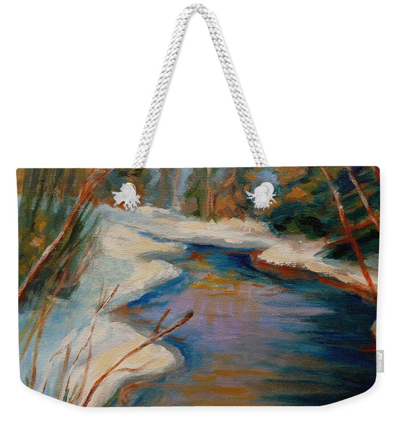 Beautiful Brook In Winter Weekender Tote Bag featuring the painting Beautiful Brook In Winter by Carole Spandau
