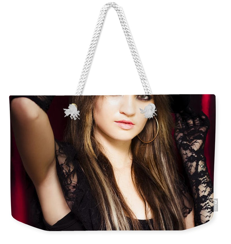 Acknowledgement Weekender Tote Bag featuring the photograph Beautiful Costumed Young Showgirl by Jorgo Photography - Wall Art Gallery