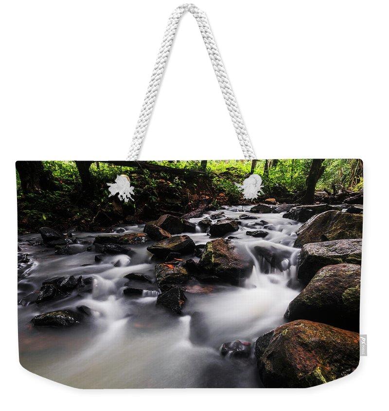 Stream Weekender Tote Bag featuring the photograph Beautiful Creek In Western Ghats Region Of Karnataka State India by Vishwanath Bhat