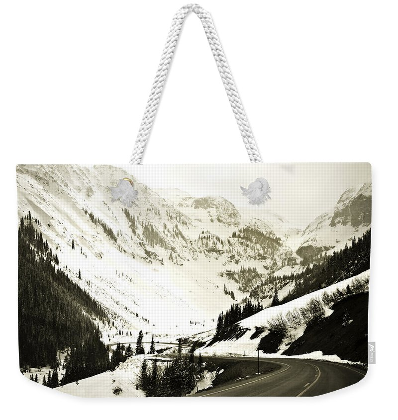 Mountains Weekender Tote Bag featuring the photograph Beautiful Curving Drive Through The Mountains by Marilyn Hunt
