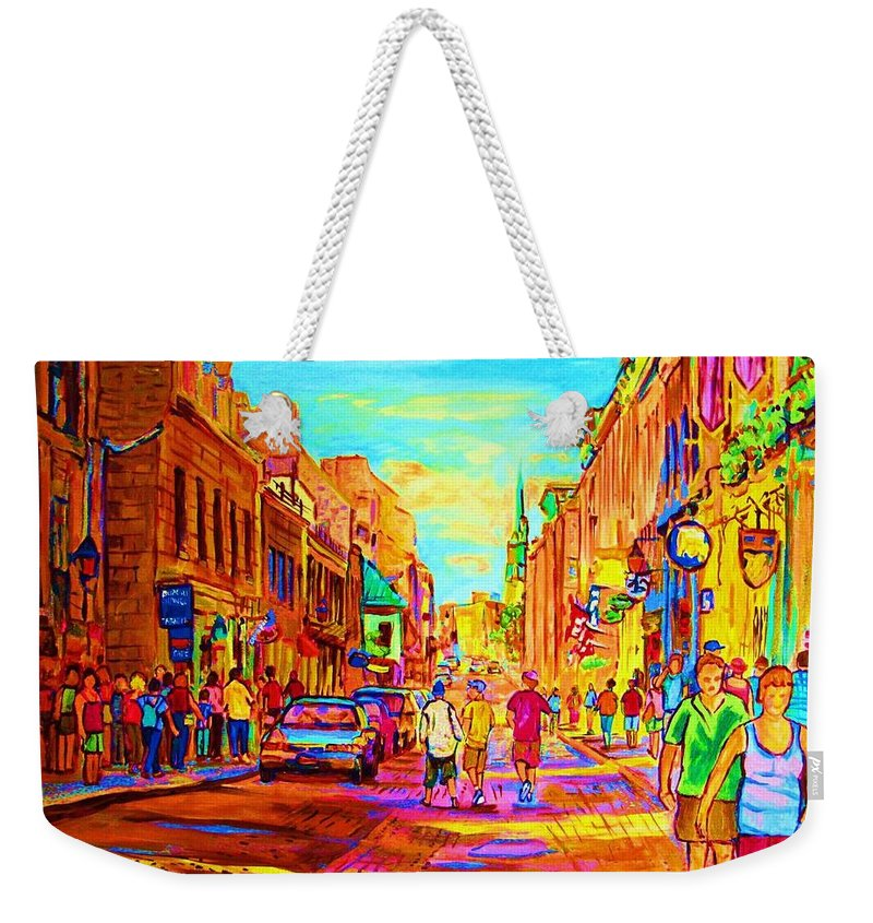 Old Montreal Weekender Tote Bag featuring the painting Beautiful Day In The City by Carole Spandau