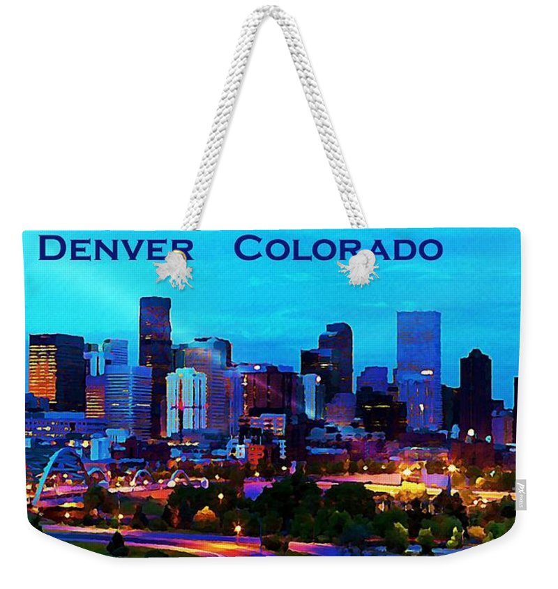 Lovely Beautiful Denver City At Night Weekender Tote Bag featuring the painting Beautiful Denver City At Night Fresh - Luxury paint nite denver