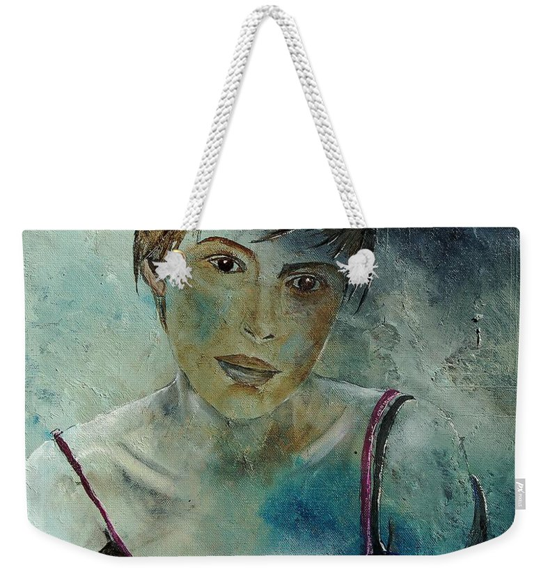 Girl Weekender Tote Bag featuring the painting Beautiful Face by Pol Ledent