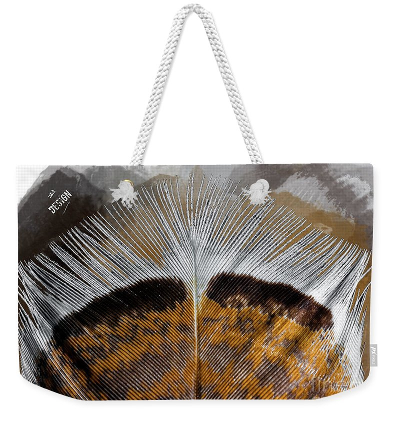 Imia Design Weekender Tote Bag featuring the digital art Beautiful Feather by Maria Astedt