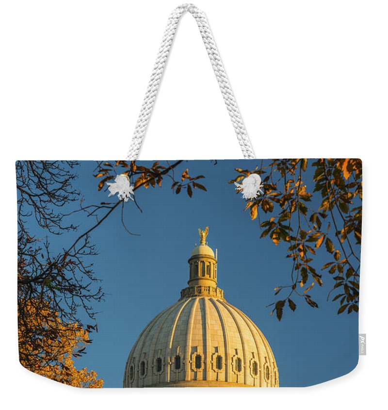 Idaho State Capitol Weekender Tote Bag featuring the photograph Beautiful Idaho State Capitol In Autumn Morning by Vishwanath Bhat
