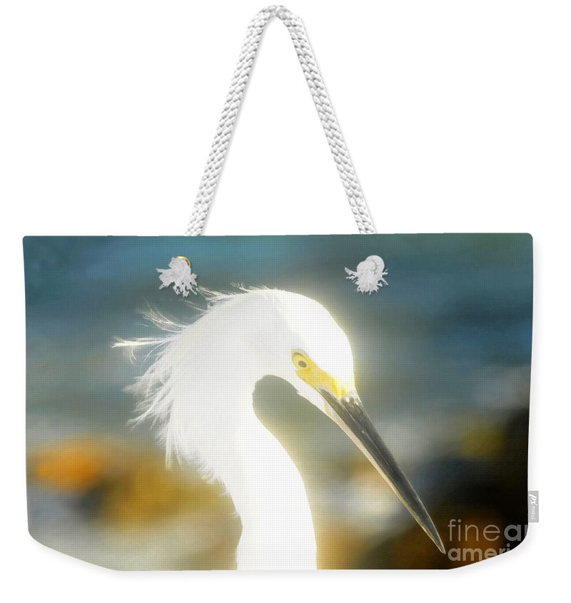 Snowy Egret Weekender Tote Bag featuring the painting Beautiful In White by David Lee Thompson