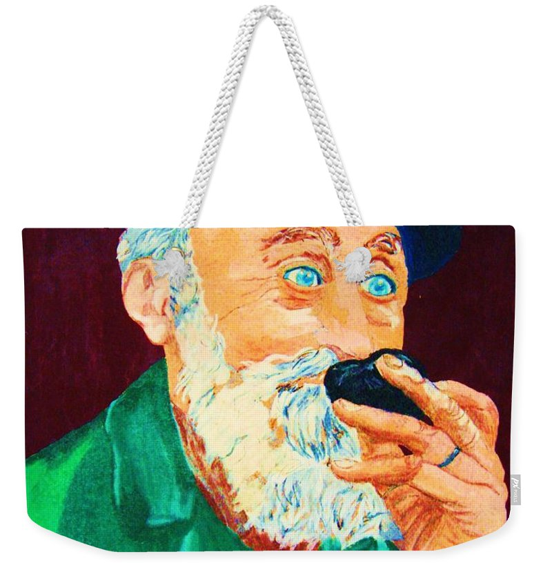 Portraits Weekender Tote Bag featuring the painting Beautiful Old Blue Eyes by Carole Spandau