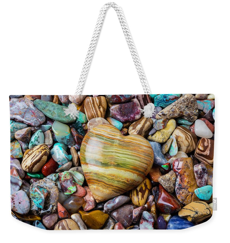 Stone Weekender Tote Bag featuring the photograph Beautiful Polished Colorful Stones by Garry Gay