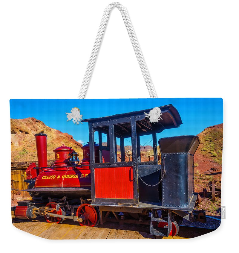Calico Weekender Tote Bag featuring the photograph Beautiful Red Calico Train by Garry Gay
