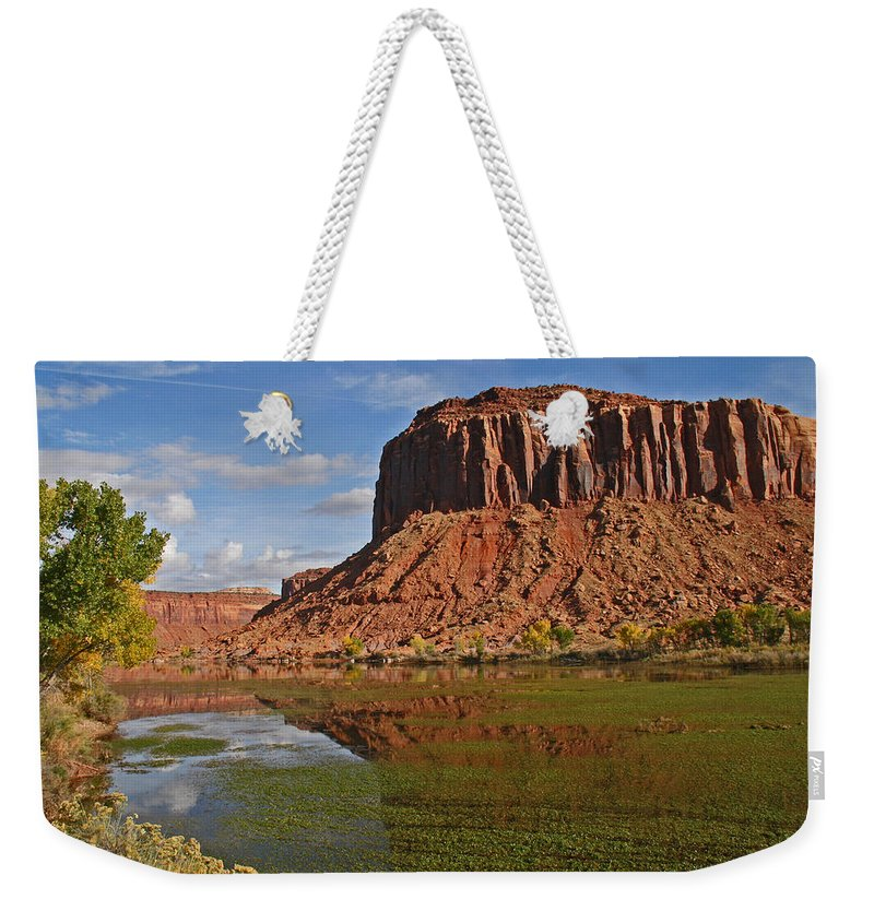 Moab Weekender Tote Bag featuring the photograph Beautiful Red Rock Formations Near Moab Utah by Elizabeth Rose