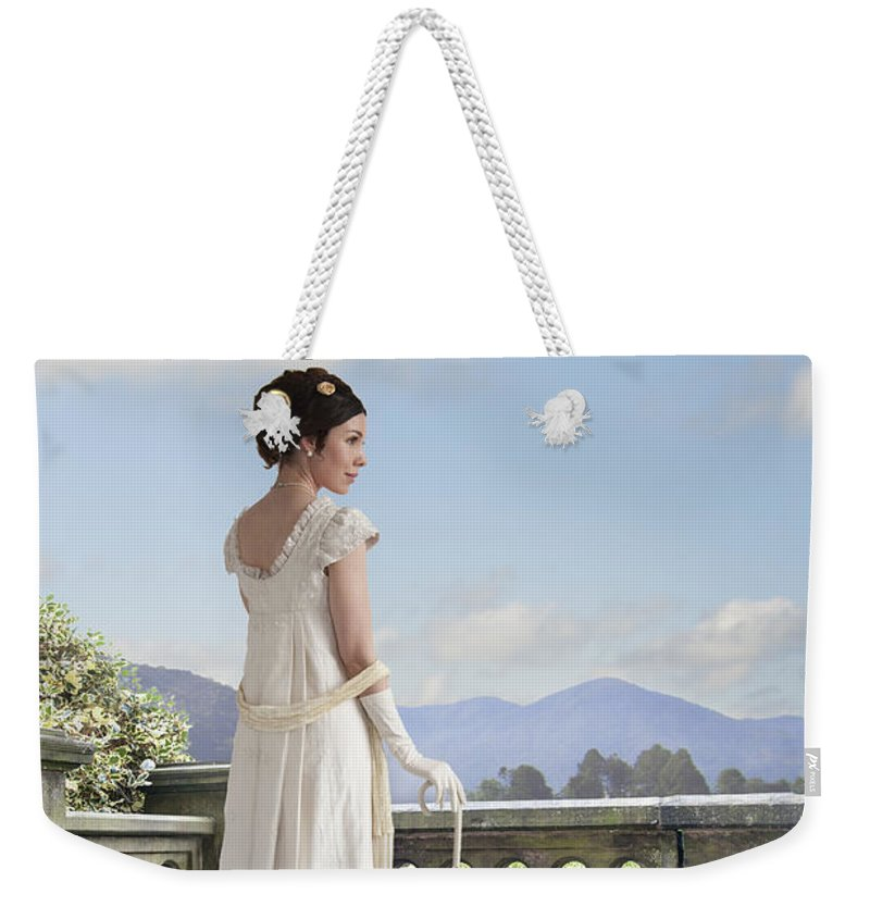 Regency Weekender Tote Bag featuring the photograph Beautiful Regency Woman Admiring The View From The Terrace by Lee Avison