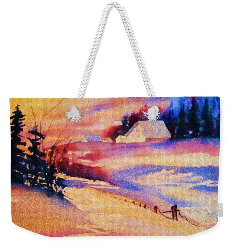 Winterscene Weekender Tote Bag featuring the painting Beautiful Serenity by Carole Spandau