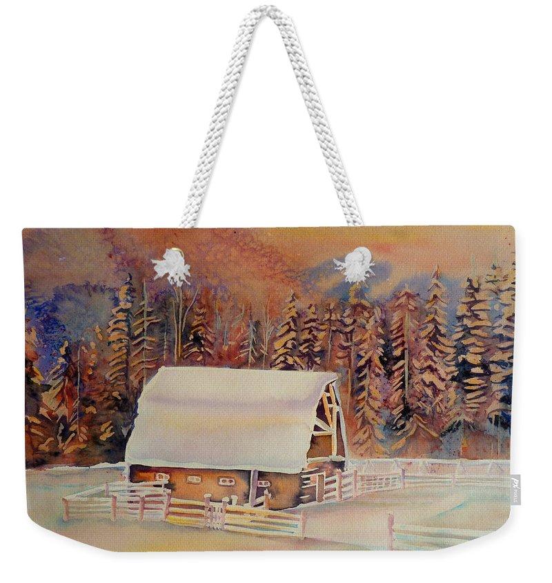Beautiful Skies Weekender Tote Bag featuring the painting Beautiful Skies by Carole Spandau