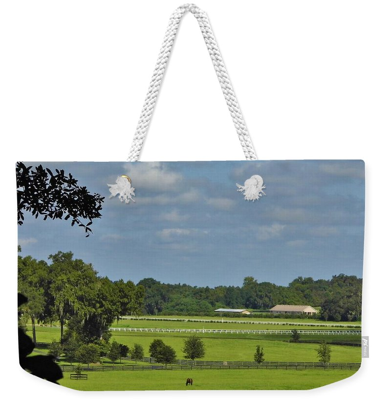 Blue Sky Weekender Tote Bag featuring the photograph Beautiful Sky Above The Farm by D Hackett