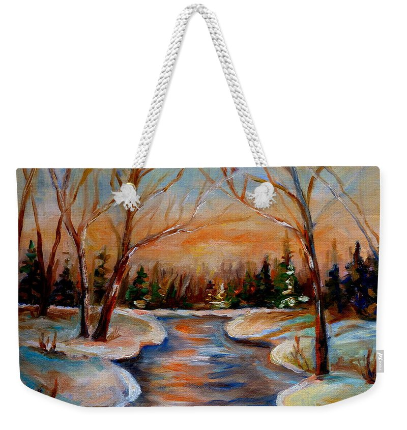 Weekender Tote Bag featuring the painting Beautiful Spring Thaw by Carole Spandau
