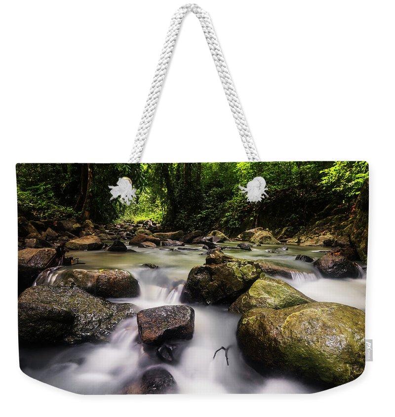 Stream Weekender Tote Bag featuring the photograph Beautiful Stream In Western Ghats Region Of Karnataka India by Vishwanath Bhat