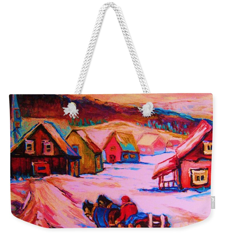 Winterscene Weekender Tote Bag featuring the painting Beautiful Village Ride by Carole Spandau