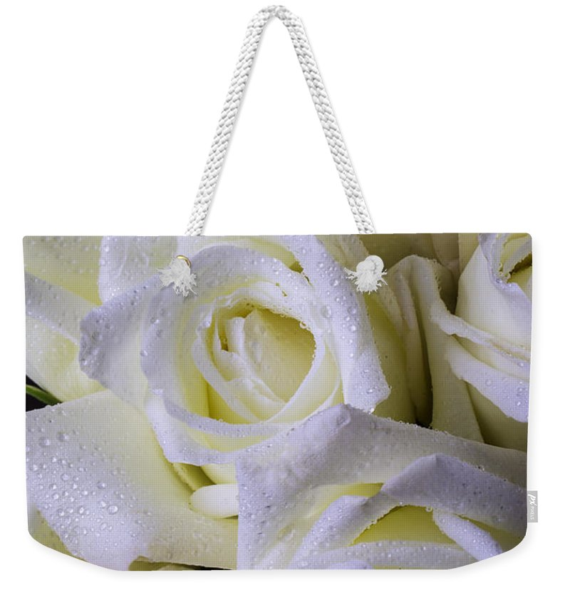 Rose White Roses Weekender Tote Bag featuring the photograph Beautiful White Roses by Garry Gay