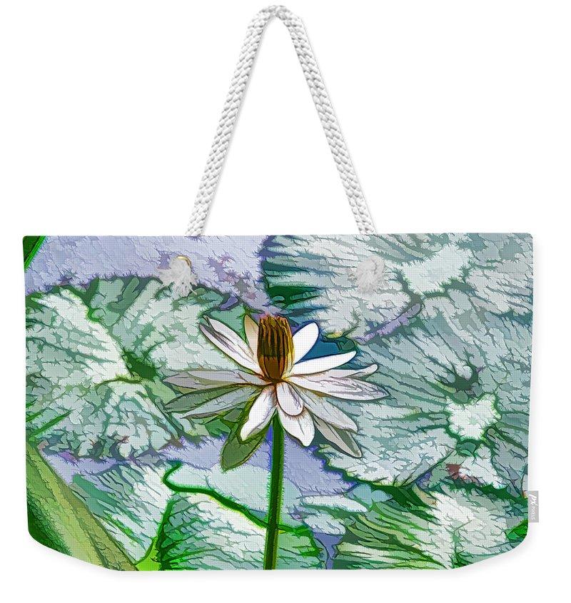 White Lotus Weekender Tote Bag featuring the painting Beautiful White Water Lilies Flower by Jeelan Clark