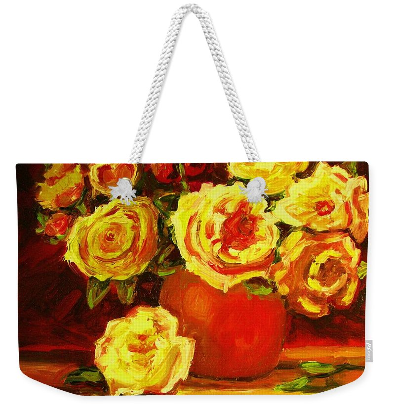 Roses Weekender Tote Bag featuring the painting Beautiful Yellow Roses by Carole Spandau