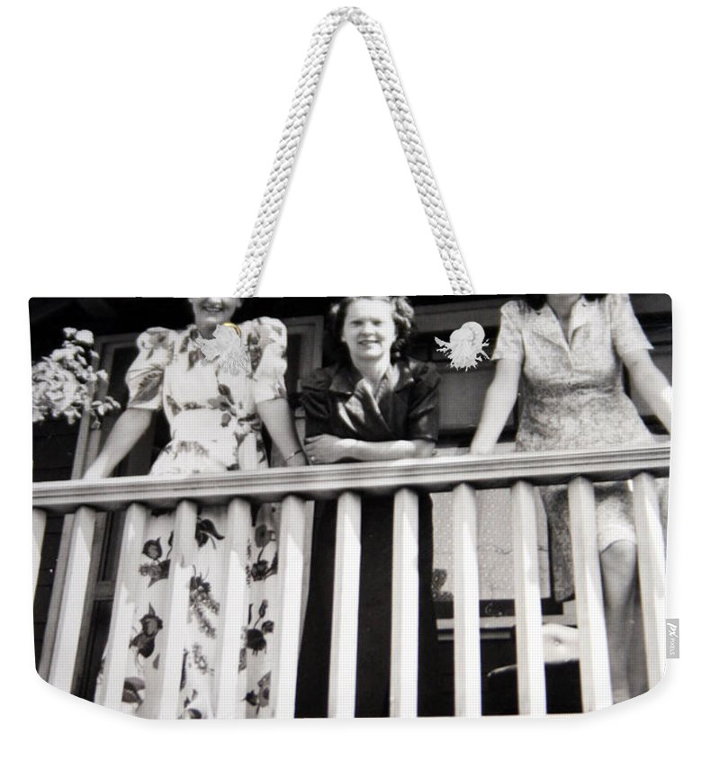 Ladies Women 1950s Classic Black And White Photography Weekender Tote Bag featuring the photograph Beauty And Balconies by Andrea Lawrence
