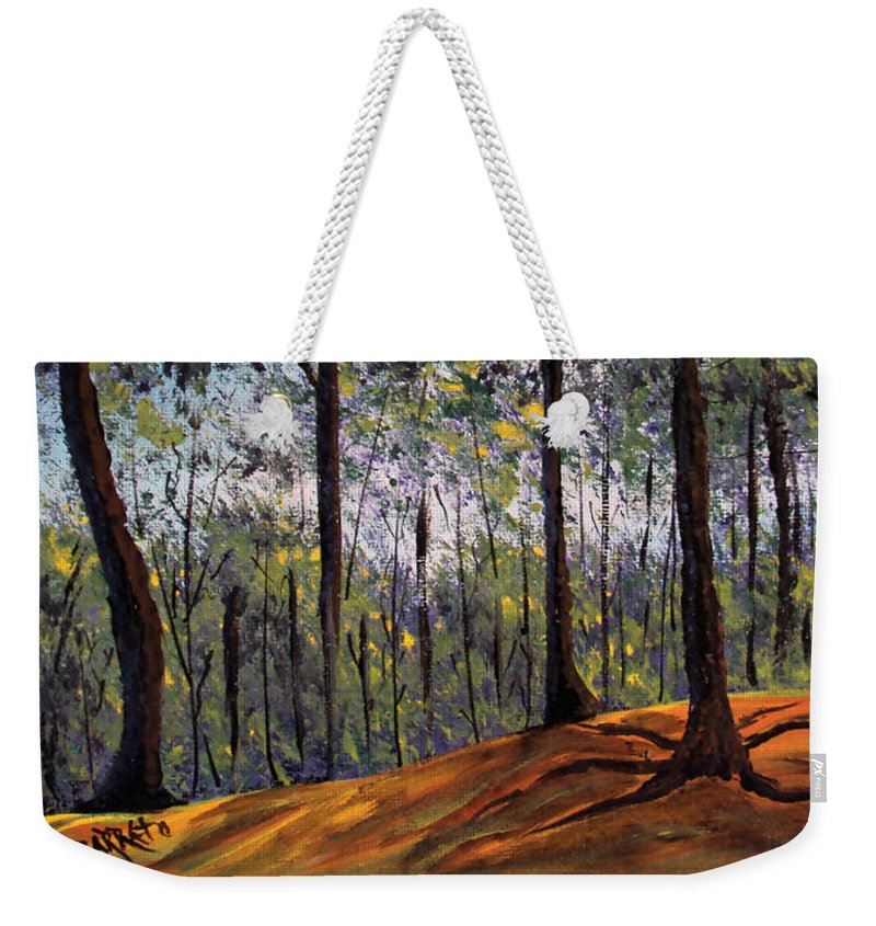 Forest Weekender Tote Bag featuring the painting Beauty Around Us 1 by Gloria E Barreto-Rodriguez