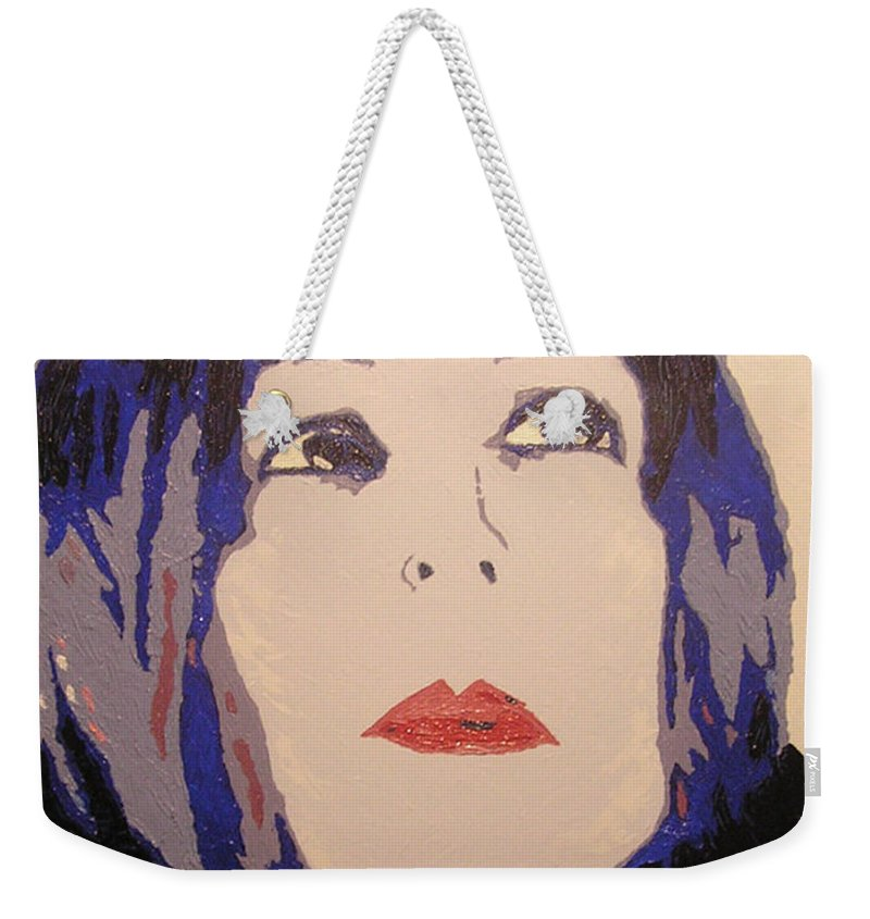 Portrait Weekender Tote Bag featuring the painting Beauty Beyond the Blue by Ricklene Wren