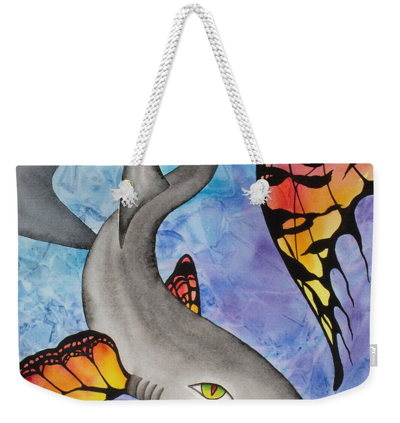 Surreal Weekender Tote Bag featuring the painting Beauty In The Beasts by Lucy Arnold