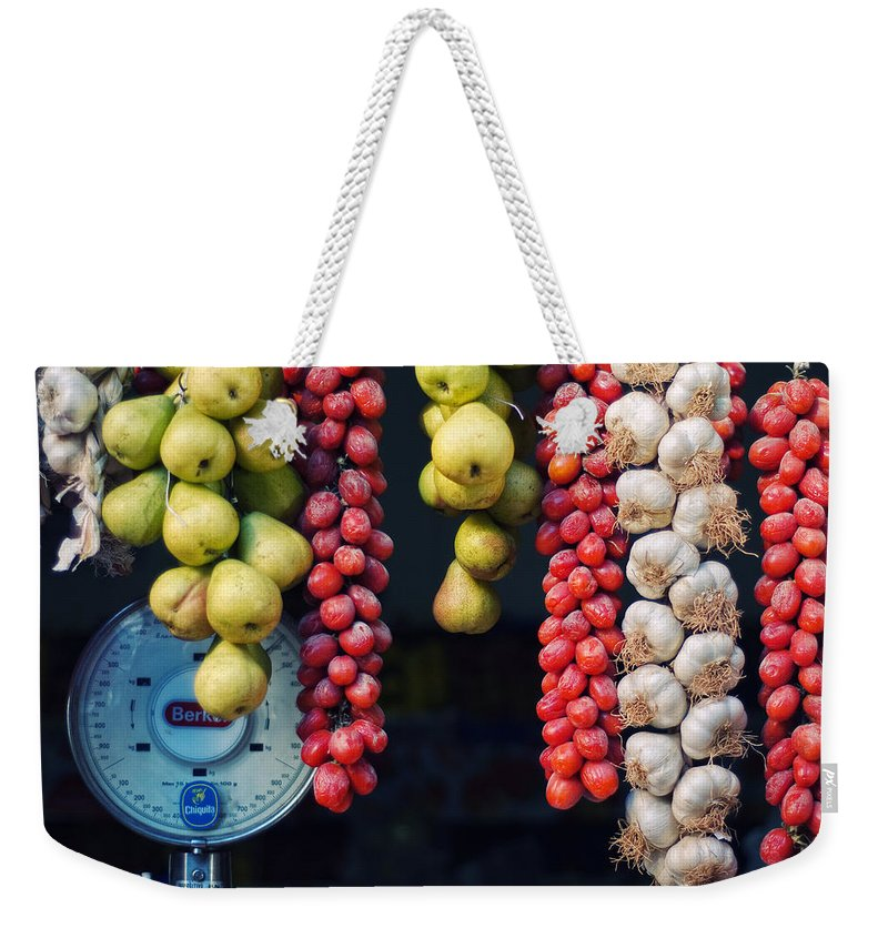 Still Life Weekender Tote Bag featuring the photograph Beauty In Tomatoes Garlic And Pears by Silvia Ganora